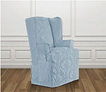 SureFit Matelasse Damask Wing Chair Slipcover