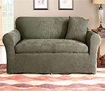 SureFit Stretch Suede Three Piece Couch Slipcover