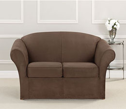 SureFit Ultimate Heavyweight Stretch Suede Individual Cushion Loveseat Slipcover